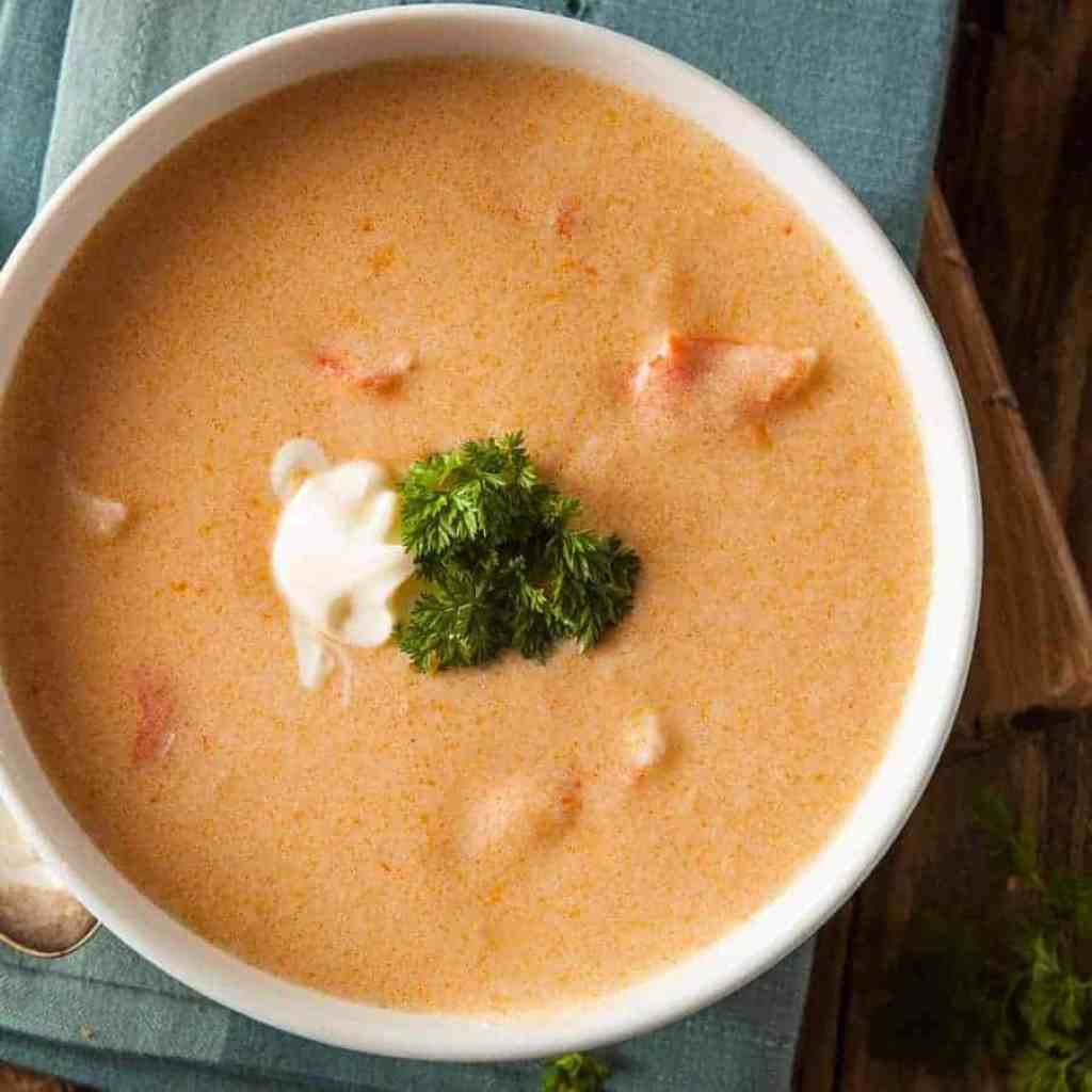 Easy, low carb, high protein homemade lobster bisque that's dairy-free and grain-free, and yet creamy. The secret ingredient? Click here to find out!