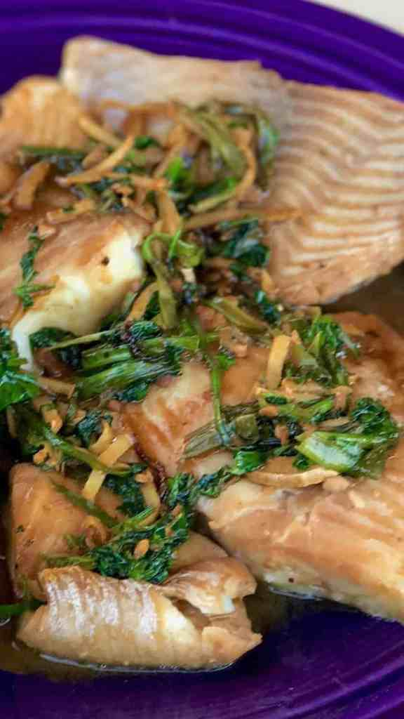 Ginger Scallion Fish whole photo 576x1024 - Instant Pot Chinese Style Steamed Ginger Scallion Fish - https://twosleevers.com