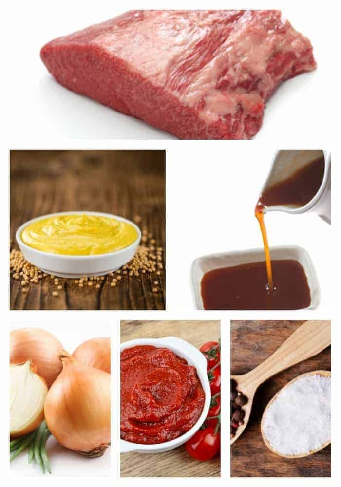 ingredients to make brisket including brisket, mustard, worcestershire suace, onions, tomato paste, salt and pepper