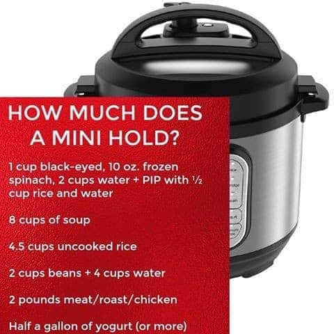 how much does an instant pot mini hold