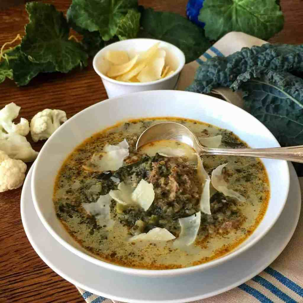 Low Carb Italian Sausage Kale Soup create a hearty, comforting low carb soup in your Instant Pot or Pressure cooker. Easy, delicious, freezes well.