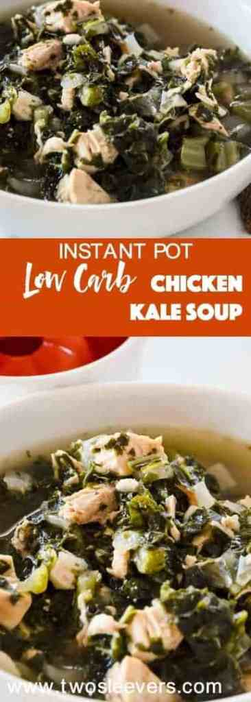 Make this delicious low carb chicken kale soup with leftover cooked chicken, kale, and warm, winter spices in your Instant Pot or pressure cooker for a soul-satisfying, low carb soup that's perfect for cold winter nights.