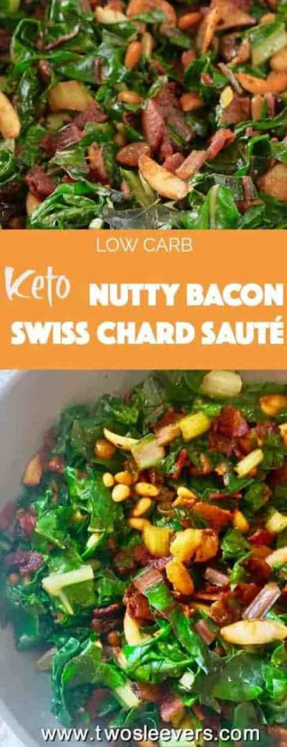 Make a quick Nutty Bacon Swiss Chard Sauté with garlic, pine nuts, and raisins for a low carb keto side dish that dresses up any meal in less than 20 minutes.