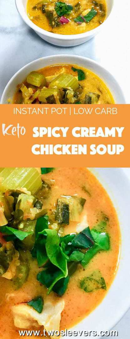 Pressure Cooker Low Carb Spicy Creamy Chicken Soup mixes together pantry ingredients for a last-minute homemade creamy chicken soup that's simply bursting with flavor. Spicy, creamy, low carb, keto, gluten-free, and dairy-free.