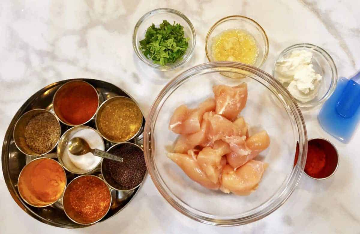 Mise en place for keto air fryer tandoori chicken
