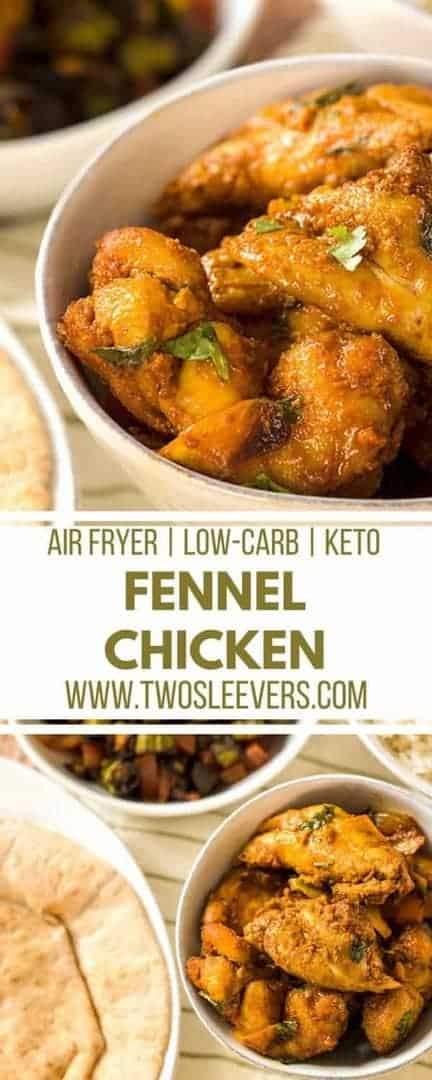 Fennel and chicken is a very popular combination inmany South Indian Dishes and this Low Carb Keto Air Fryer Fennel Chicken recipe is a great, fast, healthy dinner.