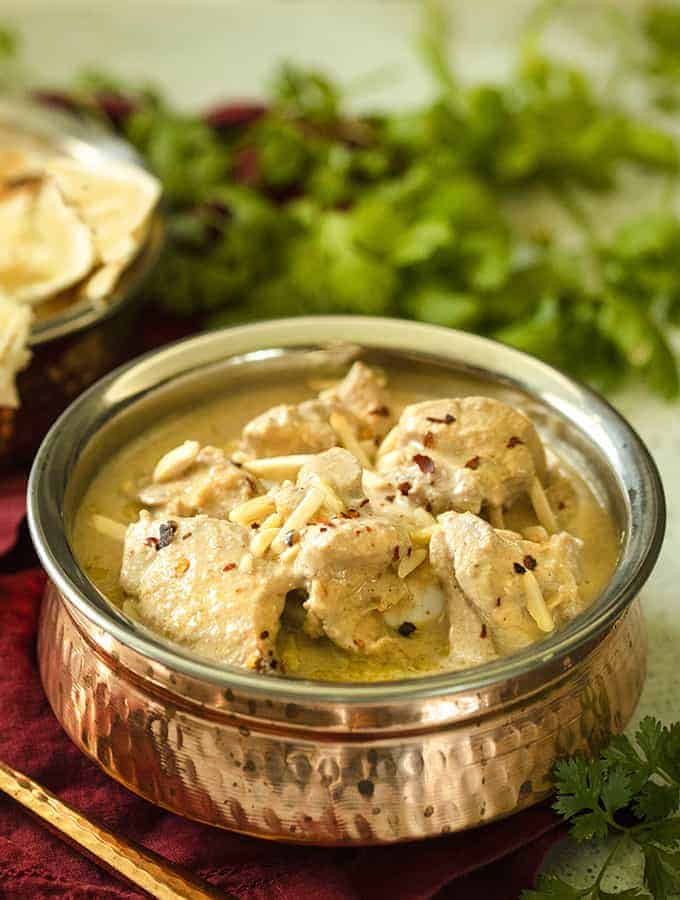 Slow Cooker Safed Chicken Korma | Instant Pot White Chicken Korma