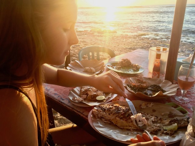 Seafood feast on Bali beach