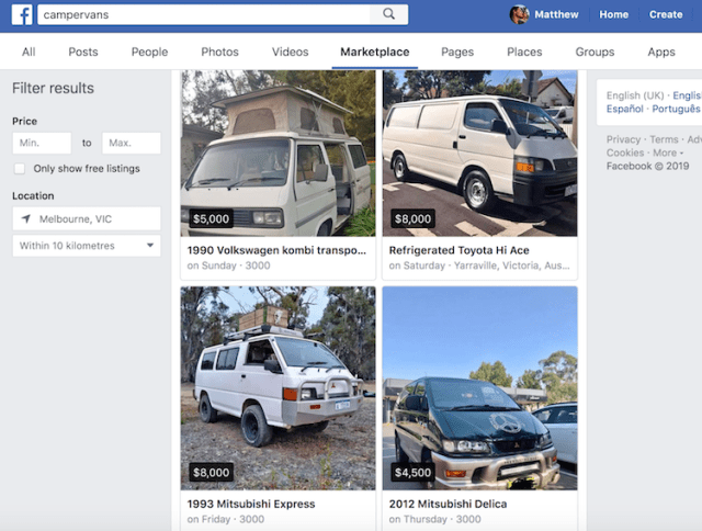 Buying a campervan on Facebook Marketplace
