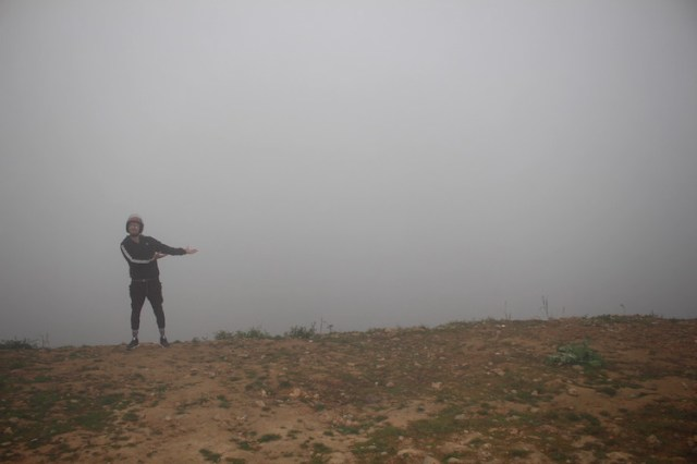 Matt showing the bad visibility we came acroos on the Ha Giang loop