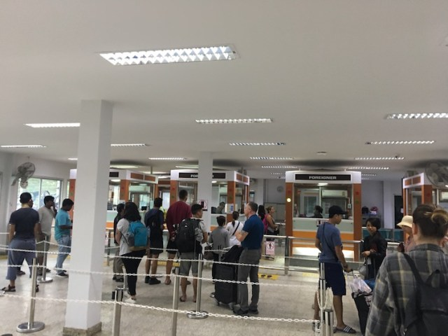 Thailand Cambodia border crossing passport control room