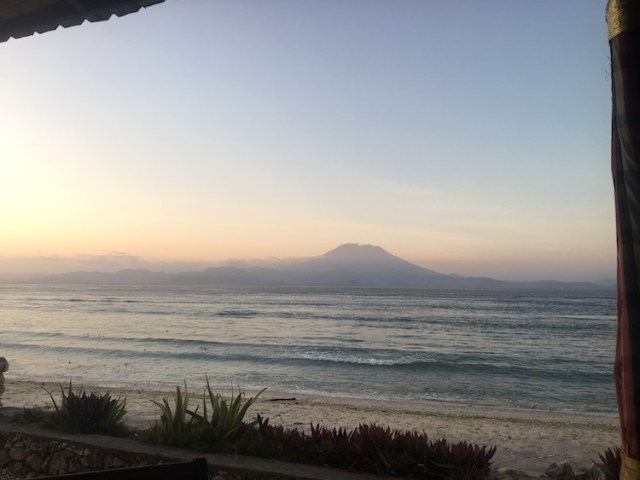 Views of Mount Agung Warung Pondok Nusa Penida