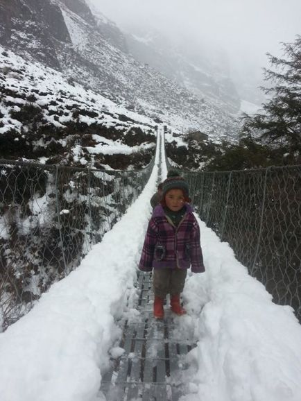 A girl we passed on the trail up to Langtang. Her and her sister were playing on the suspension bridge while their mum collected firewood.