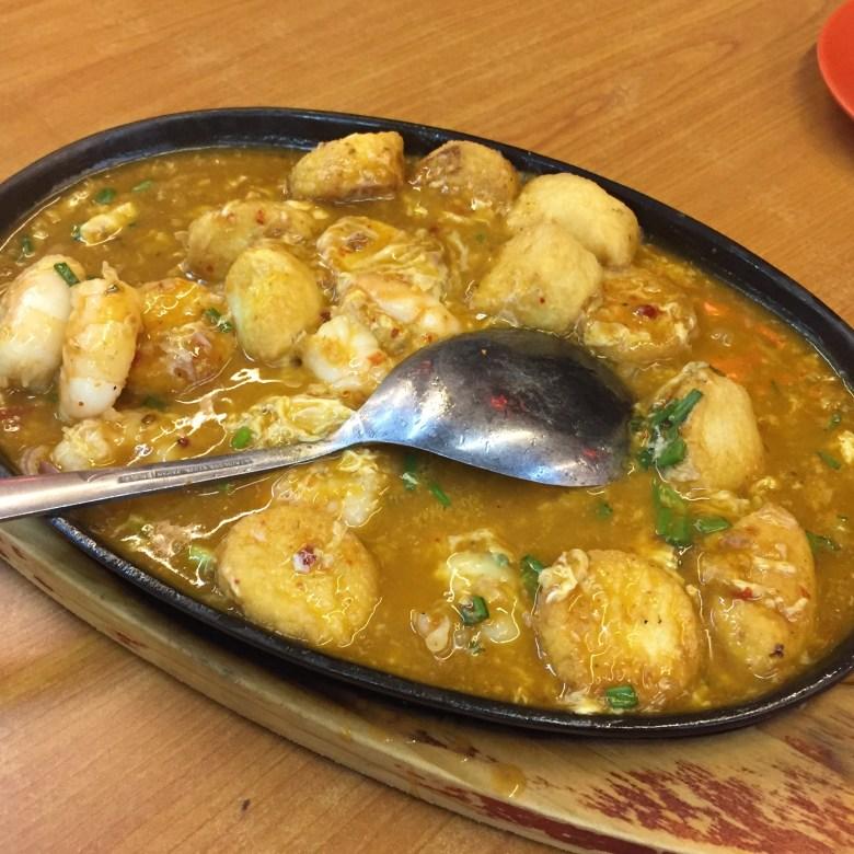 hot plate beancurd, hot plate tofu prawn