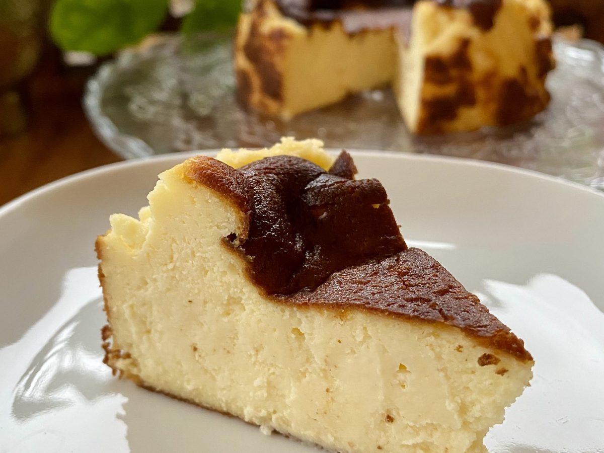 Basque burnt cheesecake recipe easy simple beginner cream cheese double egg vanilla