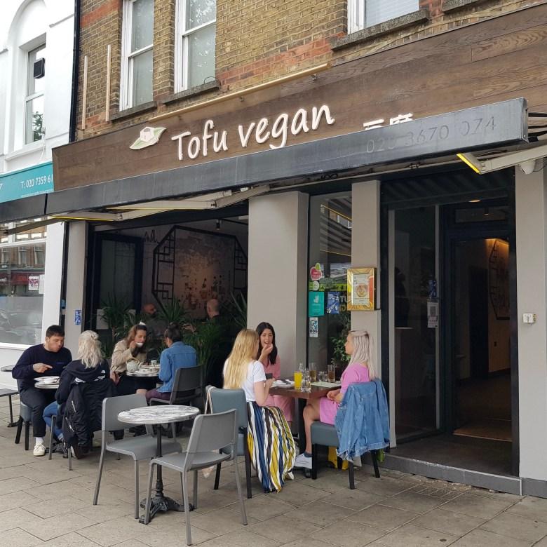 Tofu Vegan Restaurant Chinese Islington London Trendy New Age Vegetarian Plant Based Diet Tasty Delicious Frontage Entrance Alfresco Seating