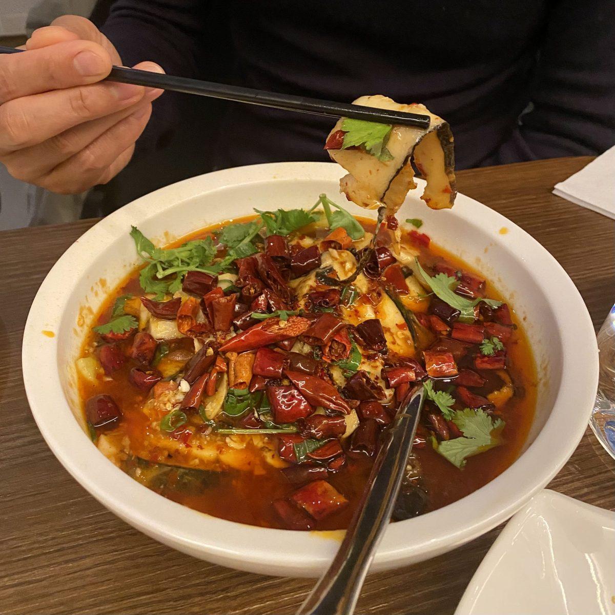 Tofu Vegan Restaurant Chinese Islington London Trendy New Age Vegetarian Plant Based Diet Tasty Delicious Sliced Fish Sizzling Chilli Oil