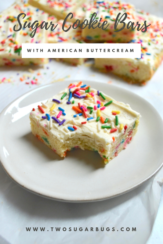 Sugar Cookie Bars are perfect for any celebration. They are so easy to make and are perfectly soft and chewy with a generous layer of buttercream and sprinkles on top! #twosugarbugs #sugarcookiebars #sugarcookies #barcookies