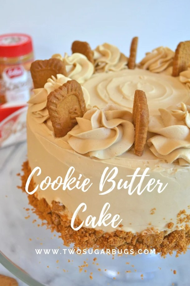 Cookie Butter Cake ~ tender, moist and full of lovely cookie butter flavor! #twosugarbugs #cake #cookiebutter #cookiebuttercake #swissmeringue