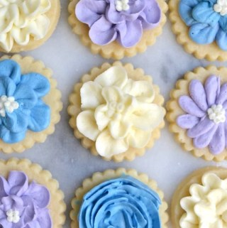 White, purple and blue buttercream flower sugar cookies