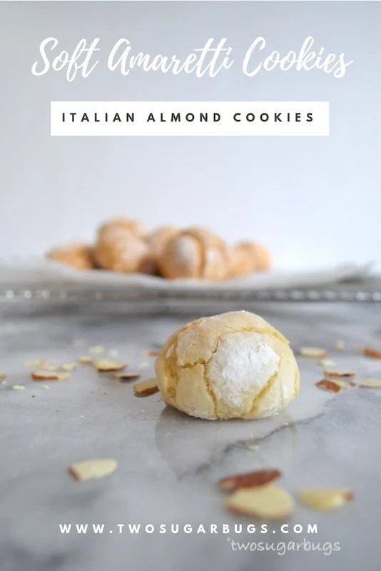 Soft Amaretti ~ Italian almond cookies with a slightly crisp exterior and a soft and chewy center. Perfect for almond lovers and gluten free, these cookies are sure to please. #twosugarbugs #amaretticookies #italiancookies #glutenfree