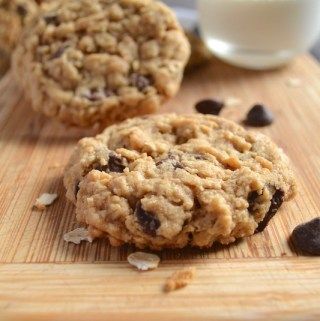 Chewy Plump Oatmeal Peanut Butter Chocolate Chip Cookies