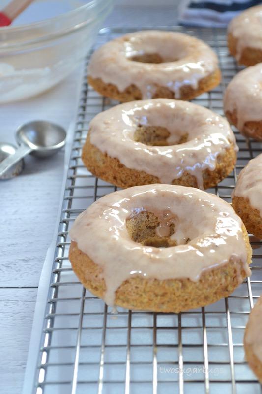 Glazed donuts on wire rack