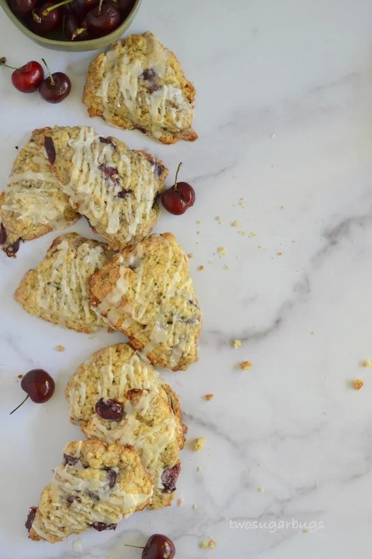 Cherry almond scones on marble counter