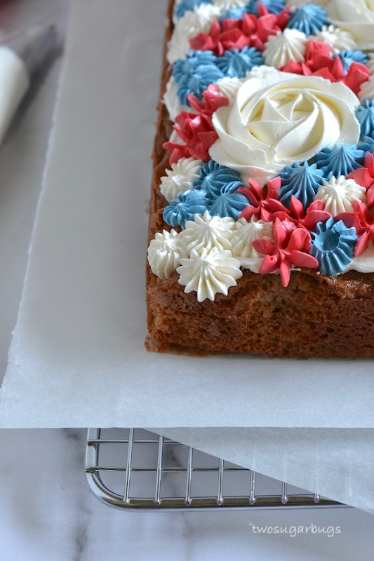 Corner of cake with piped buttercream