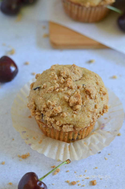 Over head shot of single cherry crumble muffin