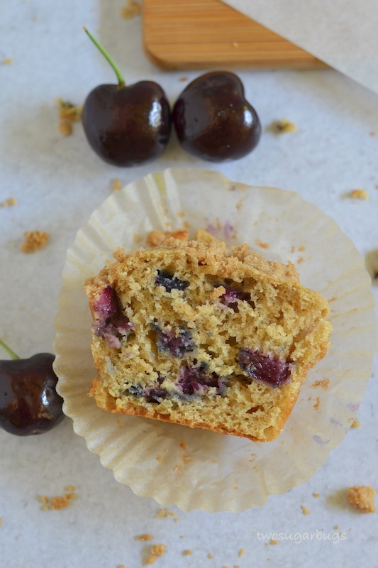 Whole Wheat Cherry Crumble Muffins ~ This cherry crumble muffin recipe delivers soft and fluffy muffins topped with a  sweet crumble topping. ~ #twosugarbugs #cherrymuffins #muffins