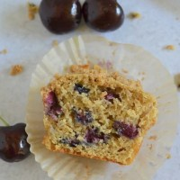 Whole Wheat Cherry Crumble Muffins