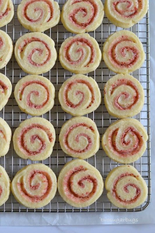 Strawberry lemonade cookies on wire rack