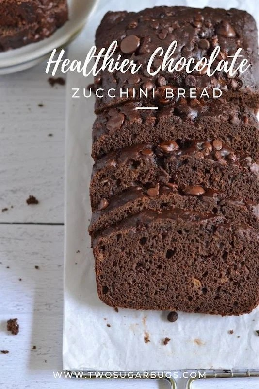 Healthier Chocolate Zucchini Bread ~ This healthier chocolate zucchini bread recipe is super easy and comes together in one bowl.  It's chock full of zucchini, low in sugar and fat and full of chocolate flavor! ~ #chocolatezucchinibread #easyrecipe #healthyzucchinibread