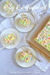 four plates with slices of cake