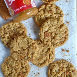 biscoff crispy cookies on parchment lined cutting board