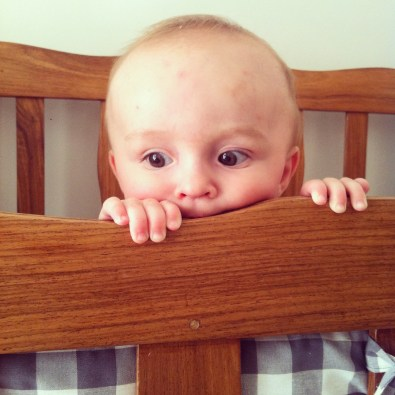 Joshua can crawl now, and pulls himself up on everything - making naps impossible.