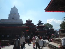 Durbar Square, an older part of Kathmandu with lots of temples. My first introduction to crowds like this, which I'm sure will seem like nothing pretty soon
