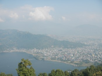 View of Pokhara from the World Peace Stupa