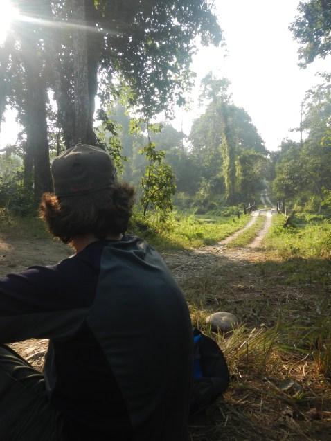 Taking a break where Bishnu has seen tigers in the past