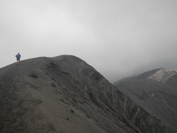 Sean running up Bromo's crater