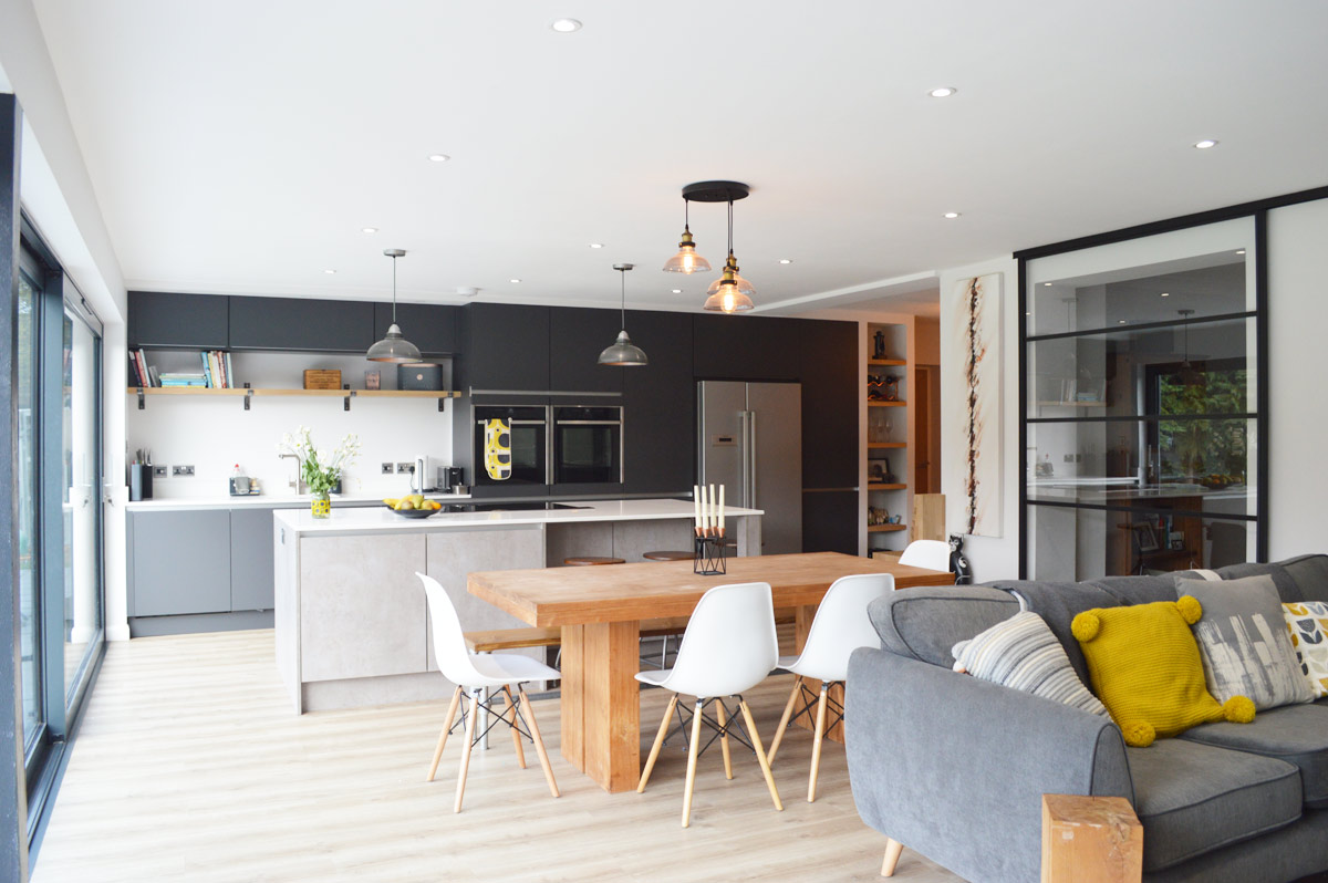 Modern Kitchen Installation In London Dark Grey Matt And