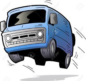 20686932-Fun-Old-Blue-Van-Bouncing-On-the-Road-Stock-Vector-van-cartoon-bus