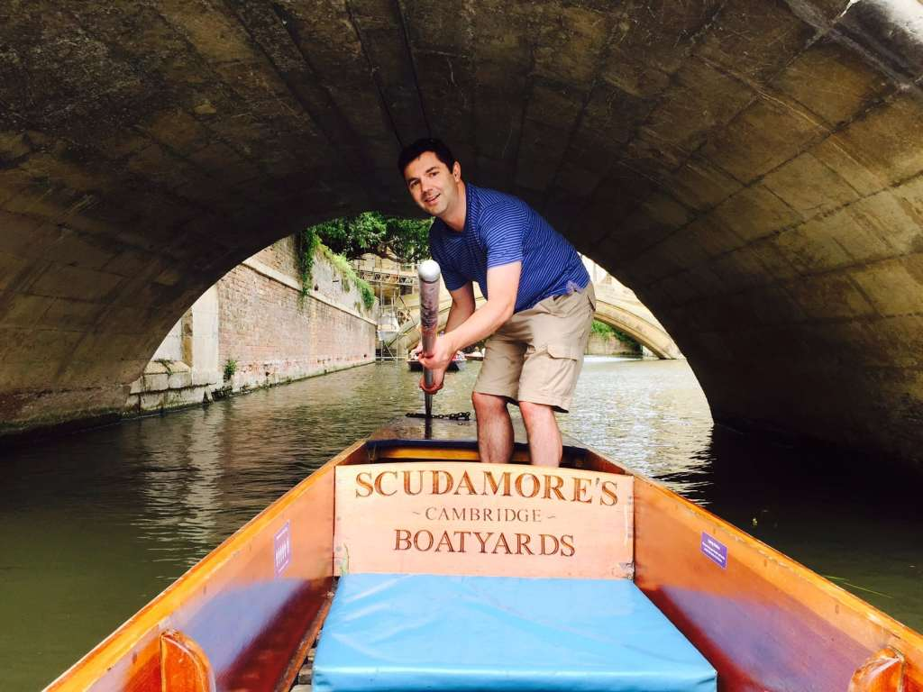 "Russell ducking as we passed under the bridge while punting in Cambridge. - ""Punting in Cambridge, England – And I am not Talking about Football"" - Two Traveling Texans - Punting Pictures"