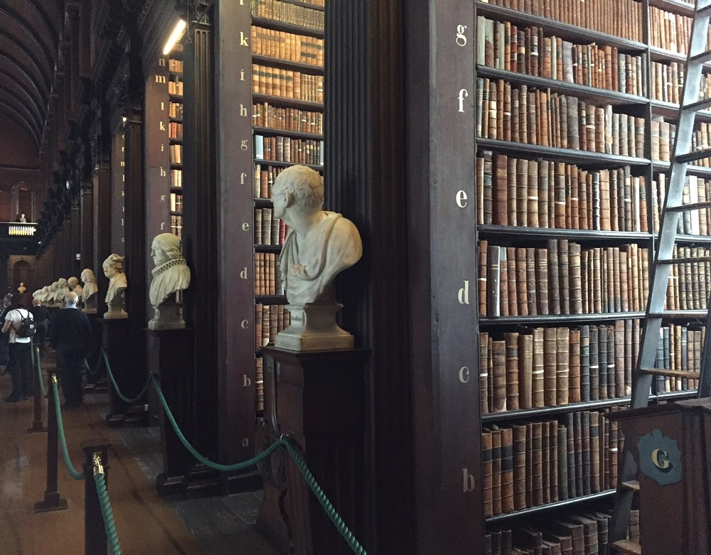 """38 marble busts line both sides of the Long Room - Trinity College Dublin Pictures -  """"The Book of Kells: A Medieval Treasure"""" - Two Traveling Texans"""