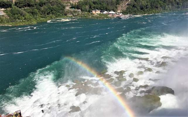 """Caught a rainbow from above. - """"Cave of the Winds: Niagara Falls Closeup"""" - Two Traveling Texans"""