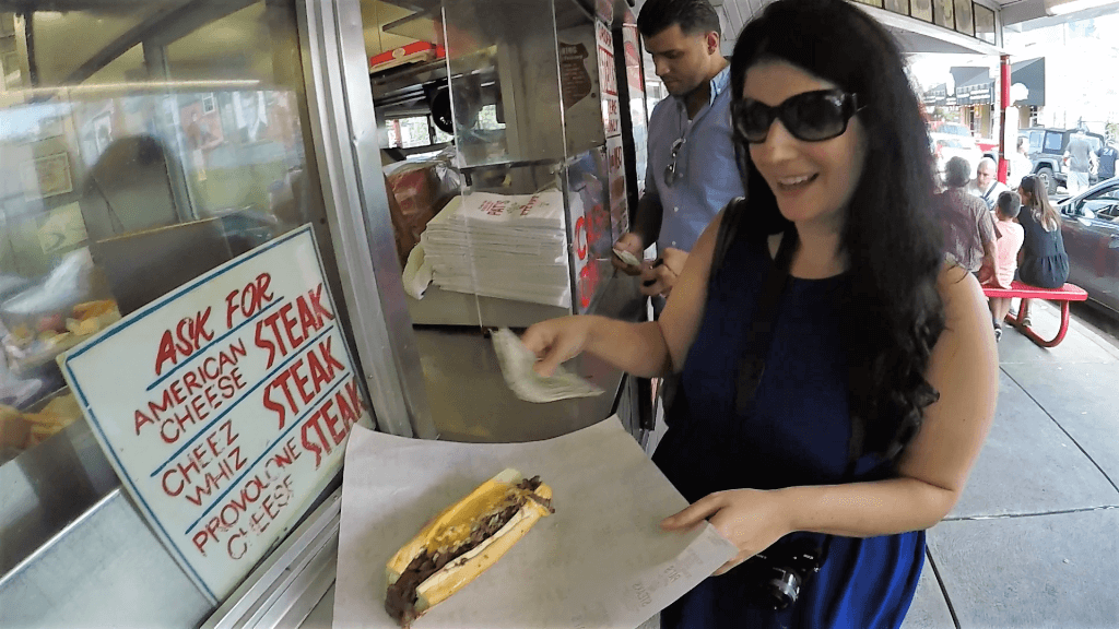 """Pat's Cheesesteak with Cheese Whiz and Onions - """"Taste Test: Pat's Vs Geno's Cheesesteaks"""" - Two Traveling Texans"""