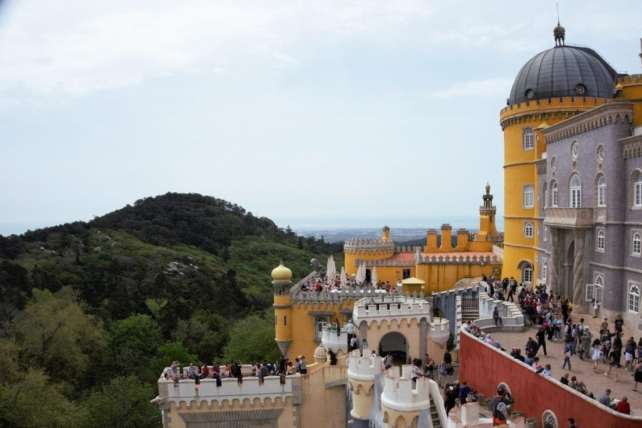 """You can see how popular Pena Palace is! - - """"Pena Palace: Sintra's Fairytale Castle"""" - Two Traveling Texans"""