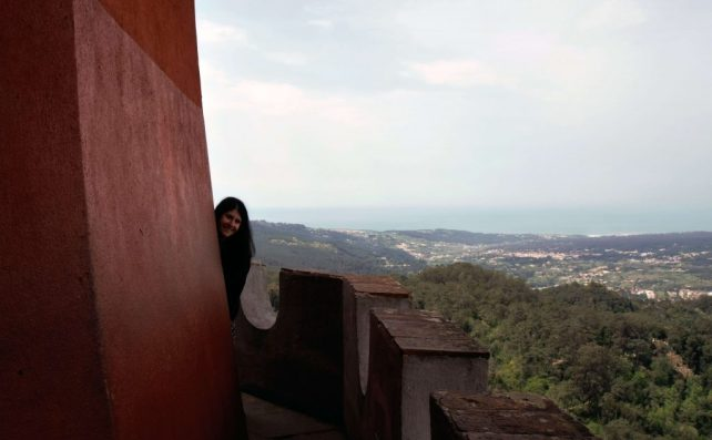 """Anisa really enjoyed the Castle Wall Walk. - """"Pena Palace: Sintra's Fairytale Castle"""" - Two Traveling Texans"""