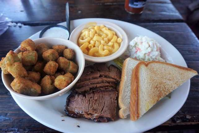 """My brisket plate at Riscky's BBQ. - """"Fort Worth Stockyards: Learn About the Old West"""" - Two Traveling Texans"""